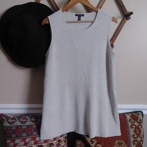 Eileen Fisher beige cream sleeveless knit top 078
